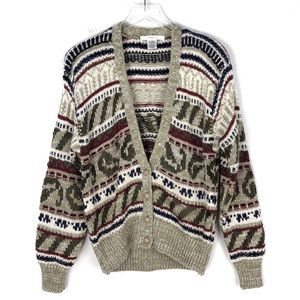 Vintage Chunky Knit Grandpa Cardigan Sweater Small